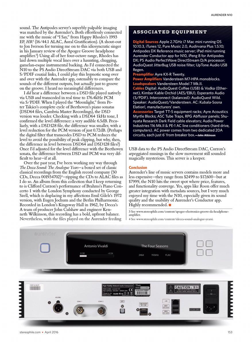 Review Aurender A10 streamer