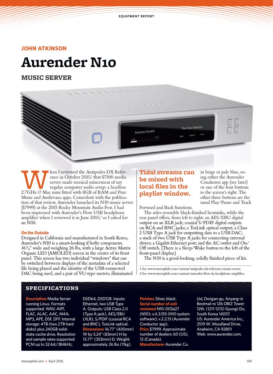 Review Aurender A10 streamer - Novus Audio